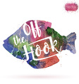 Watercolor card with fish and lettering vector image