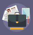 Business suitcase with paperwork portfolio concept vector image