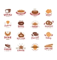 Colorful Label Set Of Bakery Goods vector image