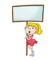Girl with a sign vector image