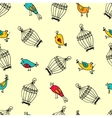 seamless cute birds with cages pattern vector image