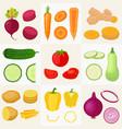 vegetables set cartoon flat style vector image