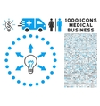 Idea Bulb Icon with 1000 Medical Business vector image