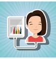 woman cartoon infographic statistics vector image