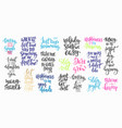 lettering typography calligraphy overlay set vector image