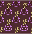 Light neon coffee cups seamless pattern background vector image