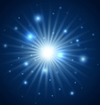 Abstract background of blue star burst vector image