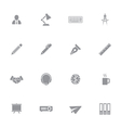 gray simple flat icon set 8 vector image