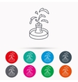 Fountain icon Water in park sign vector image