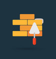flat brickwork icon vector image