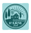 grunge farm food label design vector image