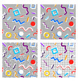 set of 80th patterns geometry of different colors vector image