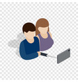 young couple taking selfie photo together icon vector image