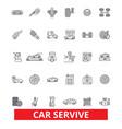 car service mechanic engine parts wash tires vector image