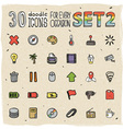 30 Colorful Doodle Icons Set 2 vector image vector image