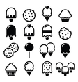 Food desserts icons - cupcake ice-cream cookie vector image