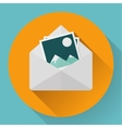 Envelope with photos - flat style concept of new vector image