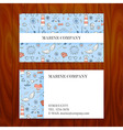 Business Card with Marine Sea Sketch Hand Drawn vector image