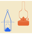color icon set with kerosene lamps vector image