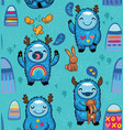 cute monsters friendly seamless pattern vector image