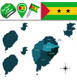 map of sao tome and principe with named districts vector image