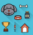 Pet care healthcare accessories flat icons vector image