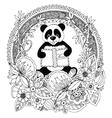 Zen Tangle panda with a book vector image