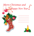 christmas sock with gifts on a white background vector image vector image