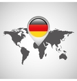 world map with pointer flag germany vector image