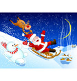 Jolly Santa Claus coming down the hill on a sled vector image