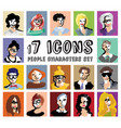 people characters avatars icons set vector image
