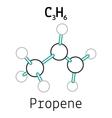C3H6 propene molecule vector image