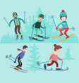 flat of people skiing vector image