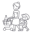 shopping grocerymother with son and shopping cart vector image