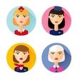 Stewardess Set of flat style icons vector image