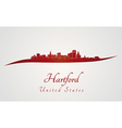 Hartford skyline in red vector image