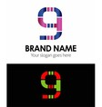 9 number logo icon vector image