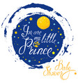 baby shower with moon and stars on blue grunge vector image