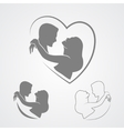 Dancing couple silhouette isolated on white vector image