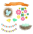 Easter set Eggs in nest birds and flowers vector image