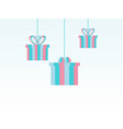 merry christmas paper hanging gift boxes festive vector image