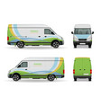 realistic cargo van advertising design mockup vector image