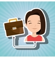 woman cartoon suitcase business portfolio vector image