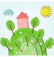 spring hilly landscape with house dashed style vector image