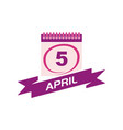 5 april calendar with ribbon vector image