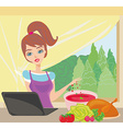 housewife looking in laptop during cooking soup at vector image vector image