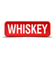 Whiskey red 3d square button isolated on white vector image