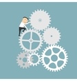 Businessman with gear system of business mechanism vector image