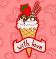 Background with ice cream cone vector image