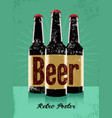 beer vintage grunge poster with a beer bottles vector image